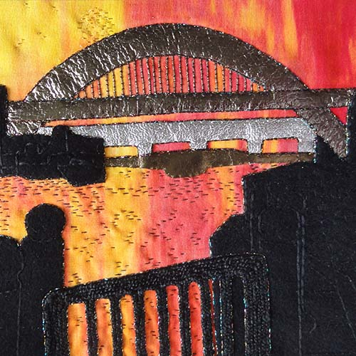 Embroidered artwork, tyne sunset
