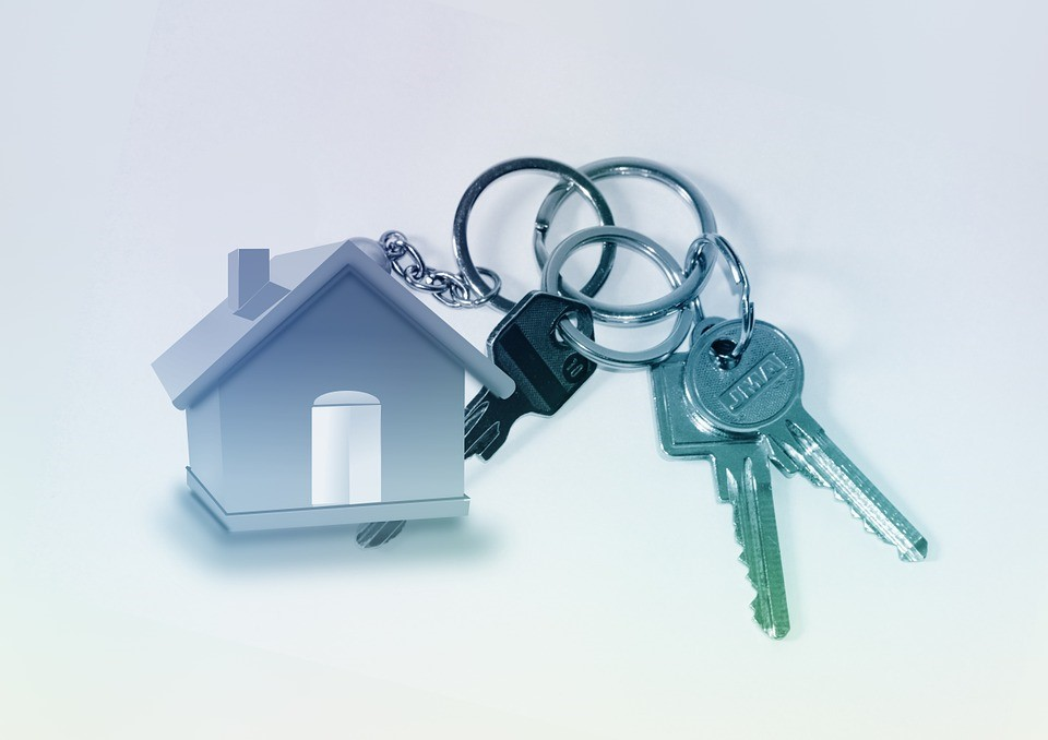 a graphic of a house and some keys