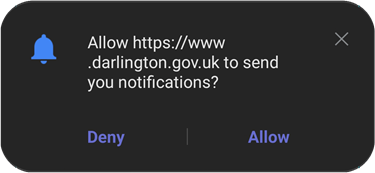 Browser asking for permission to receive push notifications