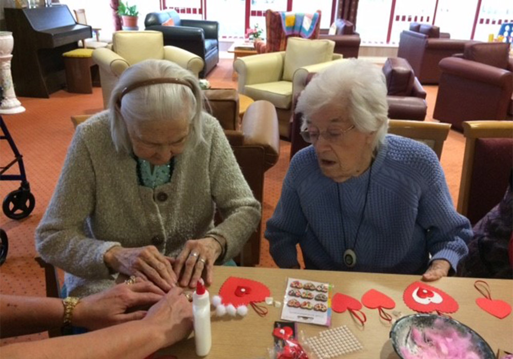 residents taking part in a crafts session