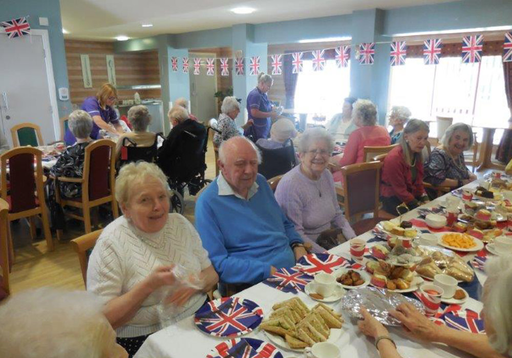 residents enjoying a street party