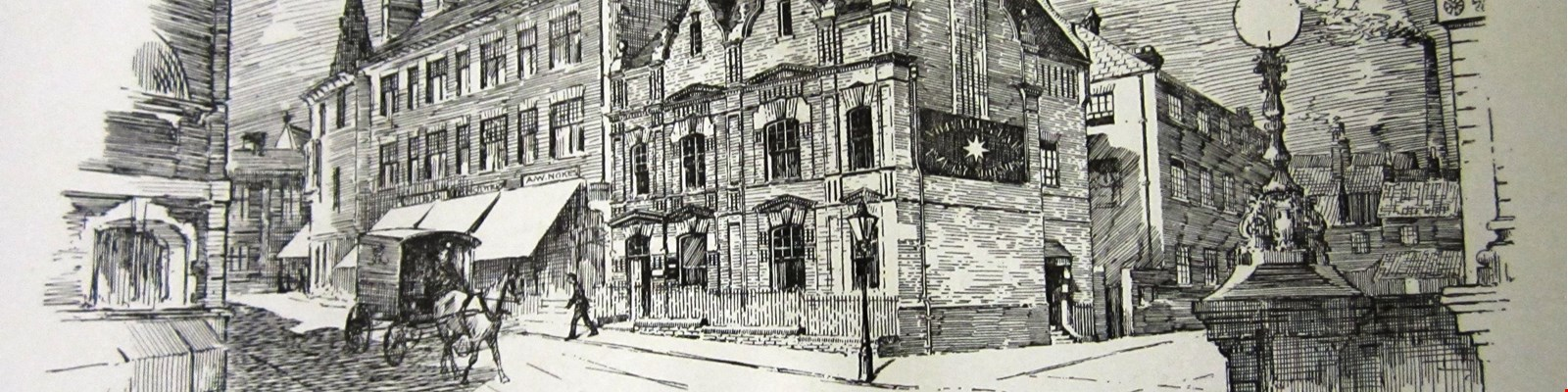 a black and white etching of crown street