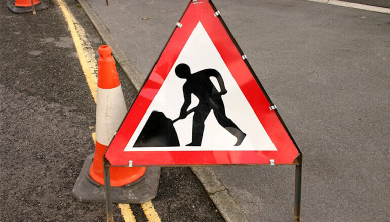 Highway maintenance works at Burtree Lane