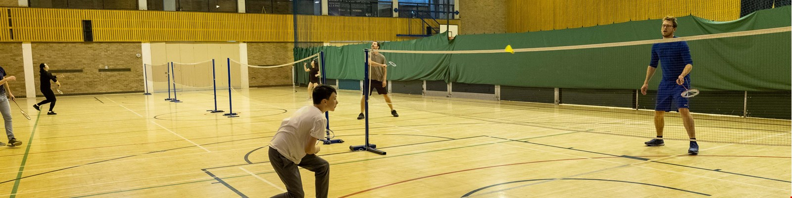people playing badminton in the courts